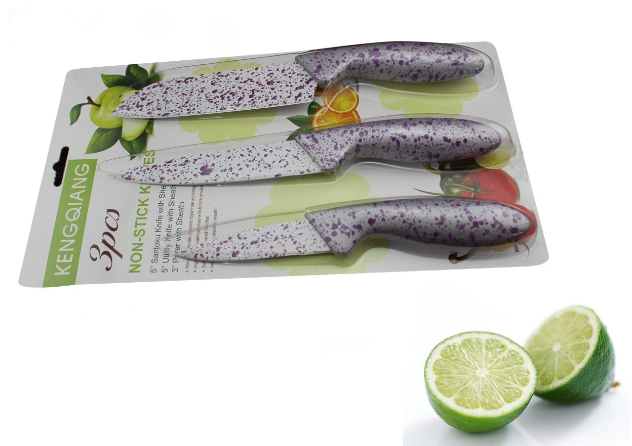 3PCS Colorful Plastic Handle Kitchen Knife Set (SE-3545)