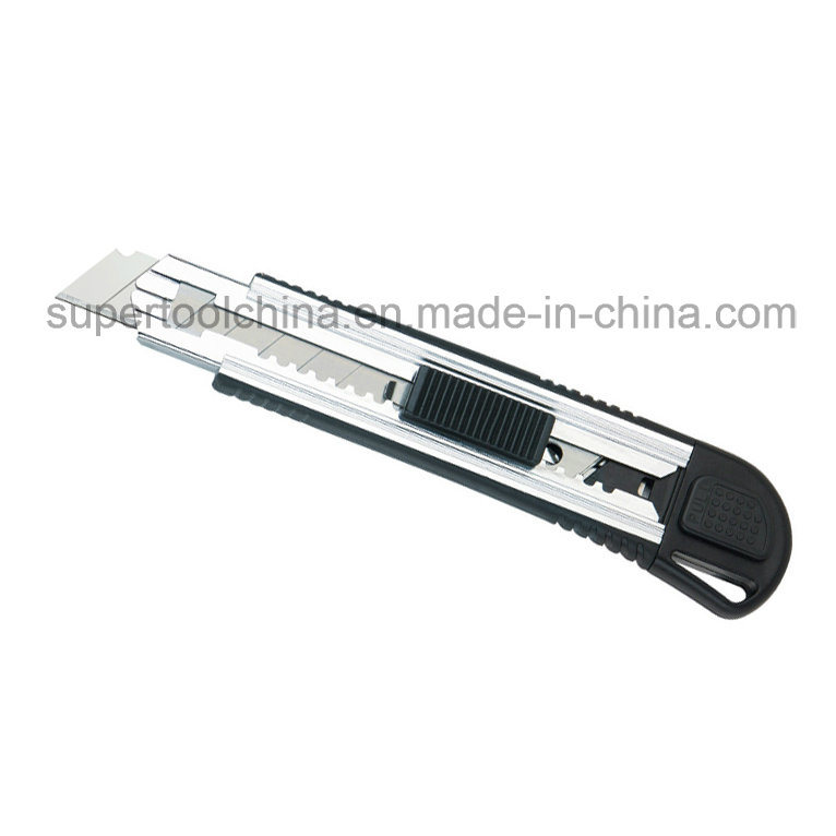 Soft TPR Covered Aluminium Alloy Utility Knife with 5 PCS Automatic Loading Blades (381206)