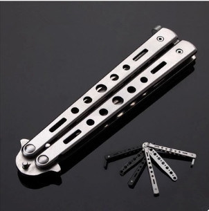 Portable Self Defense Steel Butterfly Knife Practice Tool (SYSG-1862)