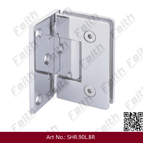 Frameless Shower Glass Door Hinge with Offset Mounting Plate (SHR. 90L. BR)