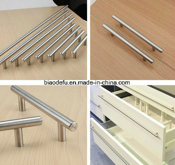 Brushed Nickel Kitchen Stainless Steel Solid T Bar Pull Cupboard Handles