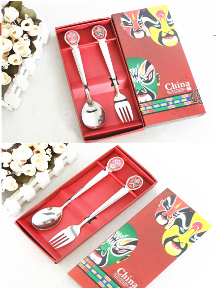 Stainless Steel Spoon and Knife with China Face Traditional Gift Package