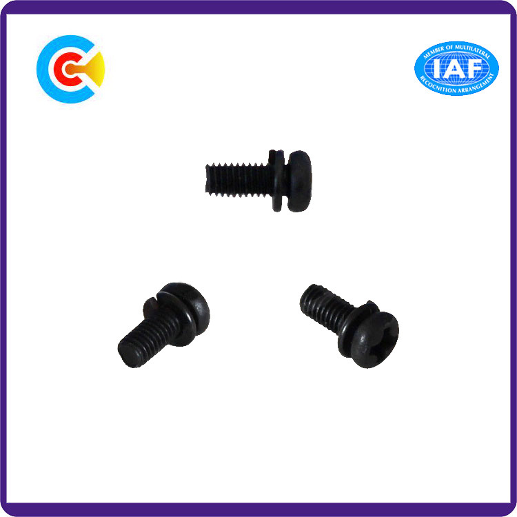 DIN/ANSI/BS/JIS Carbon-Steel/Stainless-Steel Cross Plate Head Pad Combination Screws for Building/Electric