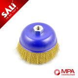 Abrasive Brass Crimped Wire Cup Brush with Hcs Wire