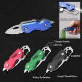 Small Multi Function Stainless Steel Pocket Knife with Flashlight (#6224AM)