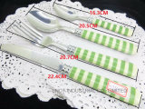 24PCS Printing-Pattern Plastic Handle Cutlery Fork Spoon Knife