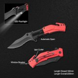 Spring Assisted Survival Knife with LED Flashlight (#31011AT)