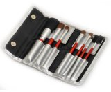Trave Cosmetic Brush Set Natural Hair Red Wooden Handle