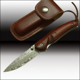 Quality Damascus Folding Pocket Knife Red Sanders Wood Handle with Leather Sheath