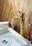Luxury Single Handle Brass Bathroom Marble Basin Mixer Faucet (ZF-H-002B)