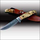 Shadow Wood Handle Fixed Blade Knife with Leather Sheath