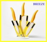 Yellow 4 PCS Bread Ceramic Knife Sets for Gift