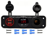 Triple Function Dual USB Charger + LED Voltmeter + 12V Outlet Power Socket Panel Jack for Car Boat Marine Digital Devices Mobile Phone Tablet (Blue LED)