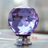 Purple Crystal Glass Pull Handle for Luxury Home Decoration