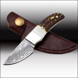 Damascus Hunting Knife Fake Deer Handle with Leather Sheath