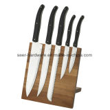 5PC Stainless Steel Laguiole Kitchen Knife Set with Wood Block (SE-K333)