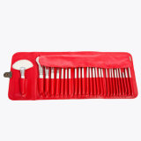 Wisdom 26PCS Goat Hair Cosmetic Brush Set with Red PU Case