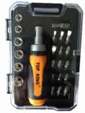 15PC Ratchet Handle, Bits and Socket Set