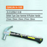 H-155 Construction Hardware Hand Tools British Type Claw Hammer with Rubber Coated Handle