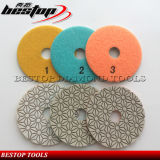 Flower Type 3 Step Polishing Pad for Granite and Quartz