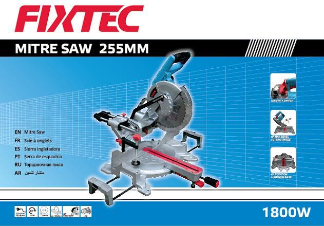 Fixtec Power Tools 1800W 255mm Sliding Compound Miter Saw